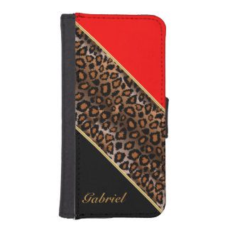 Red, Black and Jaguar Animal Print iPhone SE/5/5s Wallet