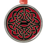 Red Black and Metal Celtic Knot Ornament