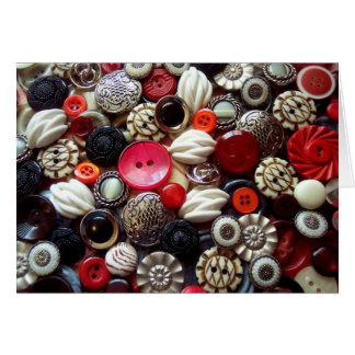 Red Black and Silver Button Collage Card