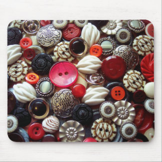 Red Black and Silver Button Collage Mouse Pad