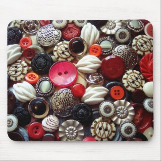 Red Black and Silver Button Collage mousepad