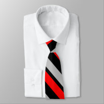Red Black and Silver Diagonally-Striped Tie