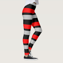 Red Black and Silver Horizontally-Striped Leggings