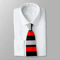 Red Black and Silver Horizontally-Striped Tie