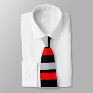 Beach Themed Red Black and Silver Horizontally-Striped Tie