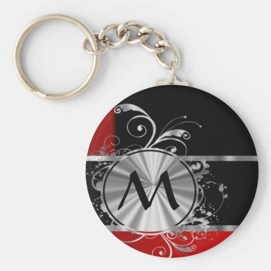 Red black and silver monogram keychain
