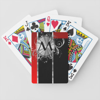 Red black and silver monogram bicycle poker cards