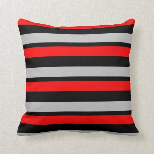 Red Black and Silver Striped Throw Pillow