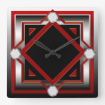 Red Black and Silver Toned Wall Clock