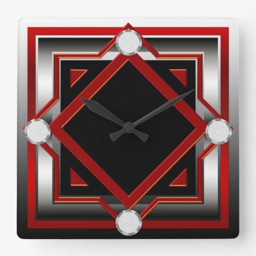 Red black and silver toned wall clock zazzle for Red and black wall clock