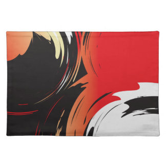 Red Black and White Abstract Art Cloth Placemat