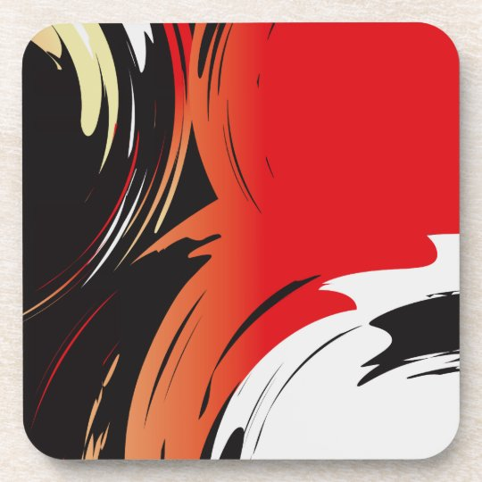 Red Black and White Abstract Art Coaster