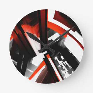 Red Black and White Abstract Round Wallclocks