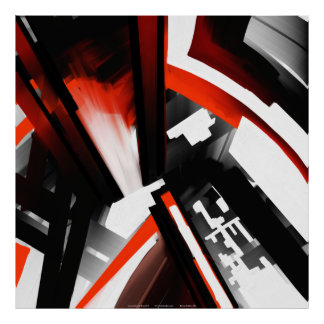 Red Black and White Abstract Posters