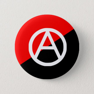 Red Black and White Anarchist Flag Anarchy Button