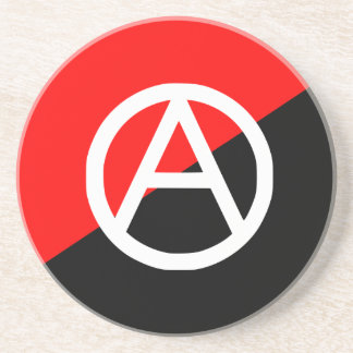 Red Black and White Anarchist Flag Anarchy Coaster