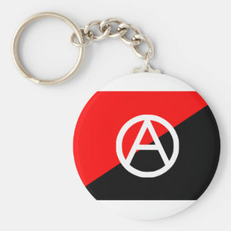Red Black and White Anarchist Flag Anarchy Basic Round Button Keychain
