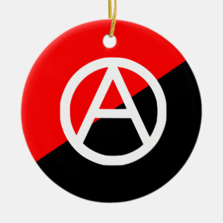 Red Black and White Anarchist Flag Anarchy Double-Sided Ceramic Round Christmas Ornament
