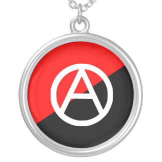 Red Black and White Anarchist Flag Anarchy Silver Plated Necklace
