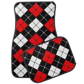 Red Black and White Argyle Pattern Car Mat