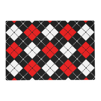 Red Black and White Argyle Pattern Placemat
