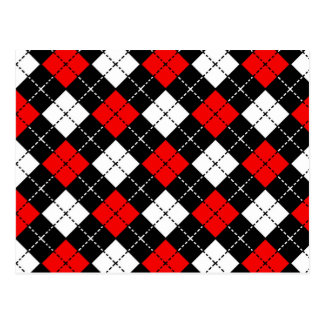 Red Black and White Argyle Pattern Postcard