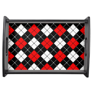 Red Black and White Argyle Pattern Serving Tray