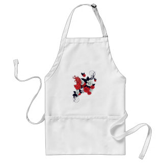 red black and white bird and flowers lovely vector adult apron
