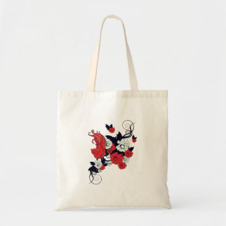red black and white bird and flowers lovely vector budget tote bag