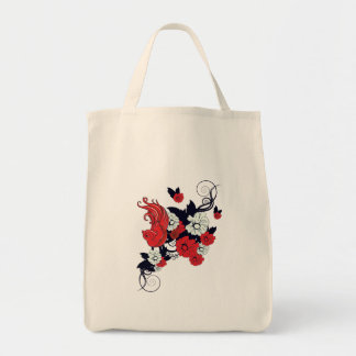 red black and white bird and flowers lovely vector grocery tote bag