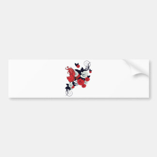 red black and white bird and flowers lovely vector car bumper sticker