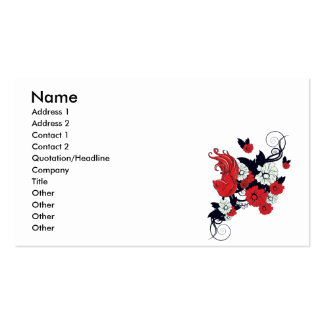 red black and white bird and flowers lovely vector Double-Sided standard business cards (Pack of 100)