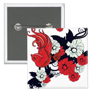 red black and white bird and flowers lovely vector 2 inch square button