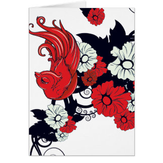 red black and white bird and flowers lovely vector greeting card
