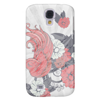 red black and white bird and flowers lovely vector samsung galaxy s4 case