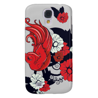red black and white bird and flowers lovely vector samsung galaxy s4 cover