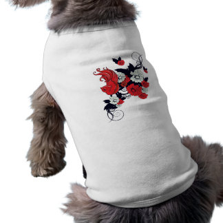 red black and white bird and flowers lovely vector dog tshirt