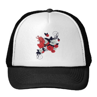 red black and white bird and flowers lovely vector trucker hat
