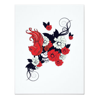 red black and white bird and flowers lovely vector 4.25x5.5 paper invitation card