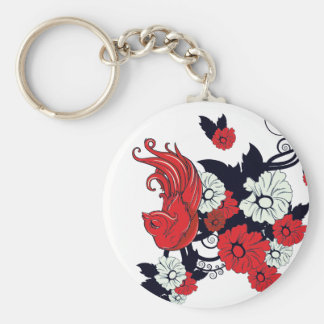 red black and white bird and flowers lovely vector basic round button keychain