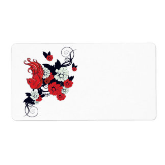 red black and white bird and flowers lovely vector shipping label