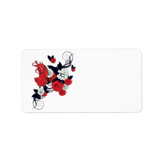 red black and white bird and flowers lovely vector address label
