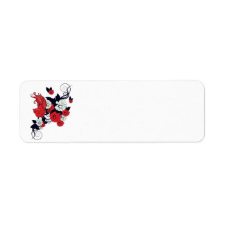 red black and white bird and flowers lovely vector return address label