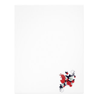 red black and white bird and flowers lovely vector letterhead