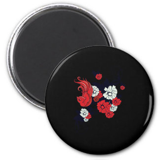 red black and white bird and flowers lovely vector 2 inch round magnet