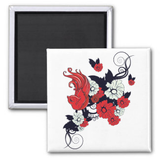 red black and white bird and flowers lovely vector 2 inch square magnet