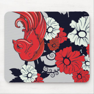 red black and white bird and flowers lovely vector mouse pad
