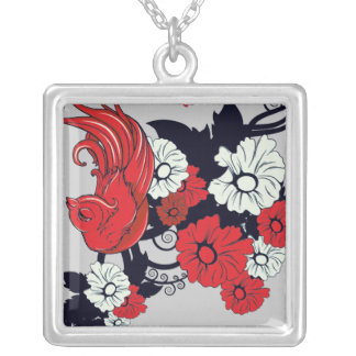 red black and white bird and flowers lovely vector square pendant necklace
