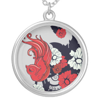 red black and white bird and flowers lovely vector round pendant necklace