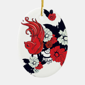 red black and white bird and flowers lovely vector christmas ornament